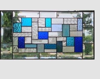 Blue clear stained glass panel window geometric abstract stained glass window panel window hanging home decor 0147 21 1/2 x 11 1/4