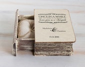 Rustic Wedding Box Personalized Ring Bearer Box Rustic Ring Box Ring Holder Еngagement Ring Box with Pillow Custom Wedding Box Book Box Box