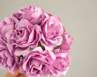 12 Paper Flowers / One Dozen LAVENDER Roses With Wire Stems / Bridal / Wedding Party / Bouquet / Decorations