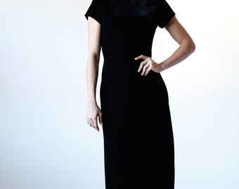 Vintage 80s Long Black Velvet Mandarin Maxi Dress size 6 Made in USA - R1-3