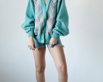 Vintage 80s New Wave Aztec Knit Turquoise Cardigan Sweater  R7