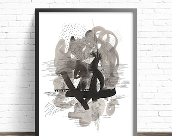 Abstract Painting Print. Contemporary art. Modern abstract art. Black and white abstract prints. Pen and ink drawing. Modern wall art