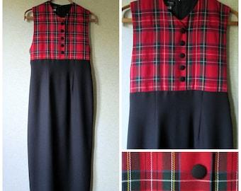 Long Dress sleeveless sheath jumper empire waist black dress red plaid vintage 80s 90s women size 6 small Cynthia Howie semi formal holiday