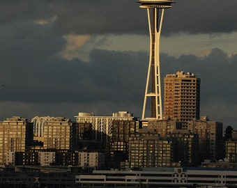Space Needle Photo, Seattle Photo, Cloudy Day, home decor, wall decor, Landscape, Architectural, Cityscape, Waterfront, Stormy skies