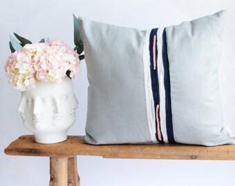 Modern Pillow Mix Media/Grey Linen/Navy Blue/Rose Pink/Ivory/Stripes/Felt Fabric Manipulation/Custom Pillow/Handmade/ZigZag Studio Design