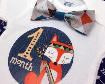 Baby Bow Tie Onesie®, Baby Bowtie Onesie®, Monthly Onesie®, Monthly Baby Stickers, Baby Month Stickers Boy, Woodland, Bear Fox Deer Argyle