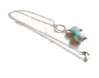 Larimar Necklace - Sterling Silver Jewelry - Gemstone Jewellery - Blue Pendant - Fashion - Chain