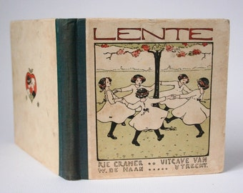 Children's book, Spring, Lente, Dutch nursery  rhymes book, 1920's,
