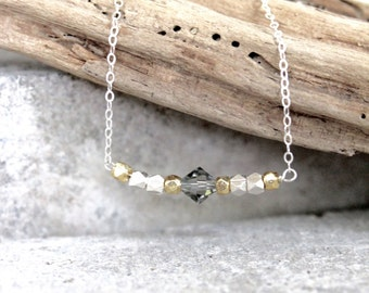 Two-Tone Smoke Gray Swarovski Crystal with Sterling Karen Hill Tribe Nugget Beads and Vermeil Gold Nugget Beads on Sterling Silver Chain