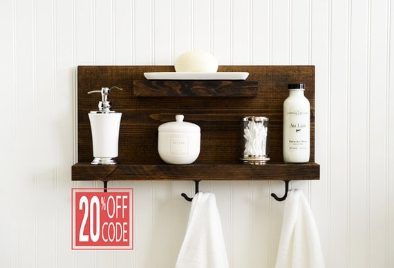 bathroom shelf with metal hooks bath towel by