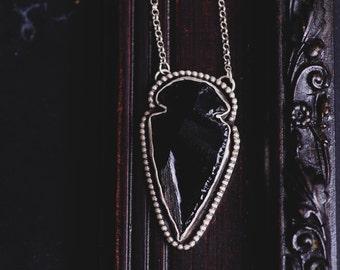 Black Obsidian Arrowhead Necklace-Sterling Silver Obsidian Arrowhead Pendant-Native American Inspired Necklace-Arrowhead Jewellery-Boho Chic