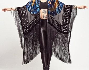 Velvet Fringe Kimono - The Blackbird