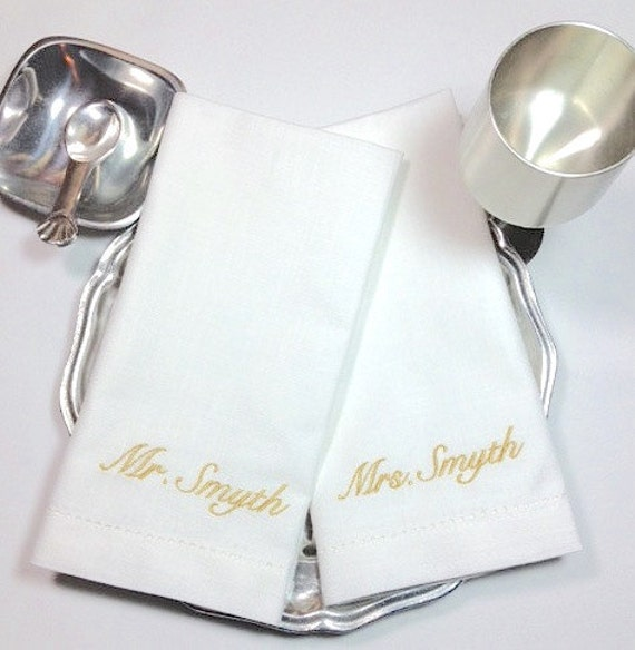 Personalized Bride And Groom Napkins Bride And Groom Cloth