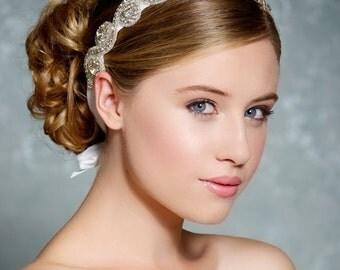 Crystal headband, tie on silver rhinestone headband, bridal headband, wedding hair accessories, wedding headband