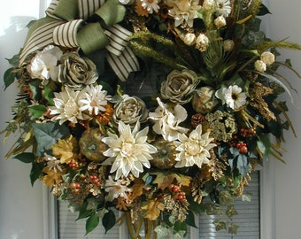 Large Fireplace Wreath Thanksgiving Decoration Fall Autumn Winter Decor Green Cream Elegant Cabin Floral Front Door Wreath Feathers Pumpkins