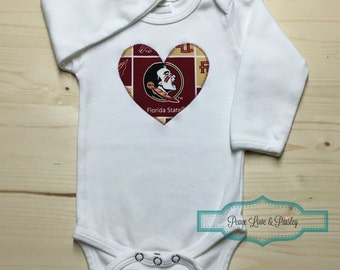 FSU Bodysuit with Heart Made from Florida State University Fabric, FSU Baby, FSU Baby Girl, Baby Shower Gift, Nole Girl