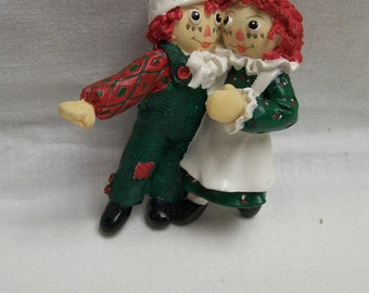 Vintage Raggedy Ann Andy Christmas Tree Ornament Resin Vintage Holiday Tree Decor