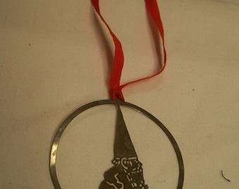 "Gnome Christmas Ornament, Towle Silversmiths,  Original Box Vintage 1979, Silver plate, ""Running Gnomes"" Unieboek"