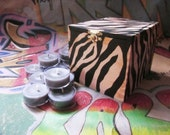 READY TO SHIP Hand Painted Zebra Pattern Limited Edition Recycled Gift Box with Two Dozen Tealights, Black Zebra box with Charcoal Tealights