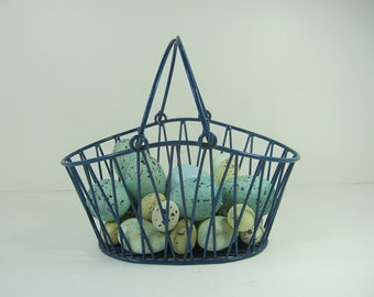 Vintage BLUE WIRE BASKET Rustic Storage Cottage Style