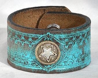 Vintage Turquoise Leather Cuff Bracelet - Distressed Turquoise Leather Cuff Bracelet, Women's Leather Cuff Bracelet