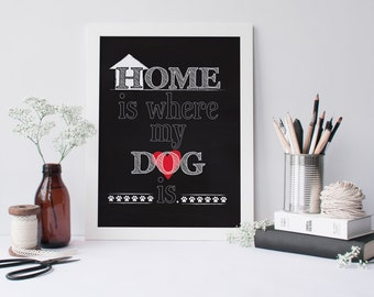 Home is where my dog is. - Dog Lover Art - Chalkboard Style Digital Download 8x10 Printable
