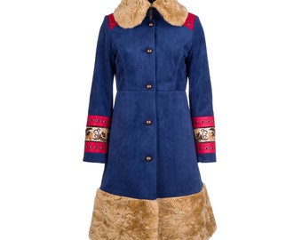 Winter coat with fur, leather and eyelets, women's winter coat, suede winter coat - collection MORENA #2 - size M/38