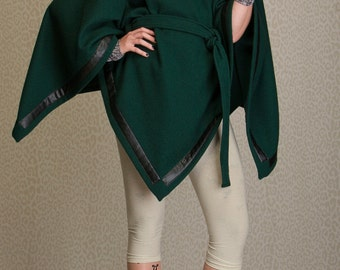 Wool poncho with leather stripes, winter poncho, womens poncho in sizes XS-XXL