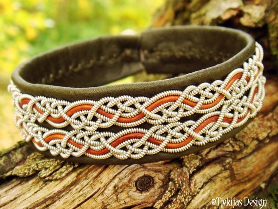 Swedish Sami Viking Bracelet MUNINN Norse Arctic Tin Thread Bracelet Cuff in Olive Reindeer Leather and Rosewood Leather Cords