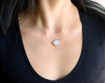 Glittering White Druzy Slice Edged in 24kt Gold Pendant Chain Necklace, Gold White Druzy Necklace