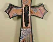 Our Lady of Guadalupe Original Retablo Icon Cross