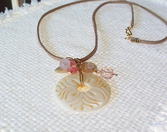 Cream Necklace Ivory Pendant with Gold and Pink Rose Beads Tan faux Leather Cord with Gold Clasp