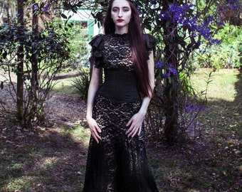 Gothic Victorian Black Lace Mermaid Wedding Gown