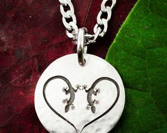 Lizard Heart Silver Necklace, Gecko Jewelry,