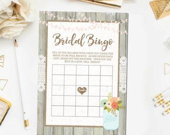 Wooden Rustic Bridal Shower Bingo Game, Bingo Bridal Shower Games Lace and Burlap Bridal Shower Game Printable Instant Download JPD352