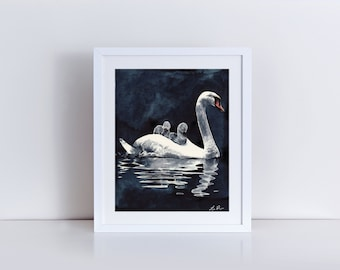 Swan Mother and Babies Art 2 Mom and Baby Art Nursery Art Print Baby Shower Gift Mother Painting Birds Watercolor Nursery Wall Decor Canvas