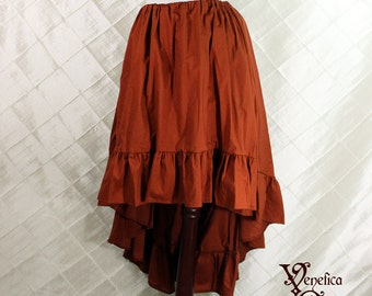 """Steampunk High Low Cecilia Skirt, Longer Length -- Spiced Pumpkin Cotton -- Ready to Ship -- Fits Up To 50"""" Waist"""