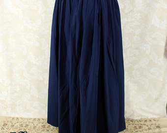 """Renaissance Wench Basic Skirt -- Dark Blue Cotton -- Fits up to 40"""" Waist, 40"""" Length -- Ready to Ship"""