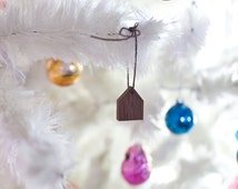 Handmade House Ornament - Holiday Decor Tiny Wooden House Home is Where the Heart Is Ornament  String Walnut Wood
