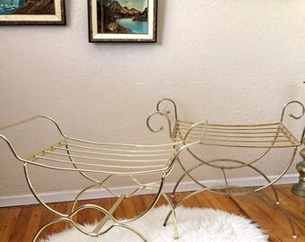 Hollywood Regency Gold Chrome Metal Wire Bench / Stool / Seat / Vanity Chair