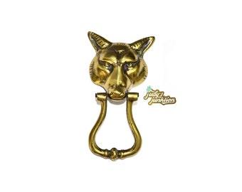 Brass Fox Door Knocker Brass Wolf Door Knocker Fox Head Wolf Head Vintage door knocker