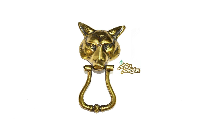 Brass fox door knocker brass wolf door knocker fox head wolf - Wolf head door knocker ...