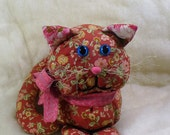 Brown Calico Kitty, Cat With Blue Eyes and Pink Bow, Stuffed Animal,  Cuddly Cat