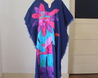 Denim Caftan / Vintage Kachina  Maxi Dress / Women's Denim Apearal