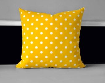 """Pillow Cover - Yellow Ikat Polka Dot 20"""" x 20"""""""