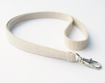 Long Lanyard With Swivel Snap, In Natural Linen Fabric, Oatmeal