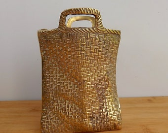 Vintage basket weave brass shopping bag, sack