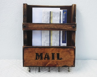 Rustic Wooden Mail Rack And Key Holder, Wall Mount Organizer, Key Rack, Rustic Mail Caddy, Letter Storage, Recipe Holder, Post Box