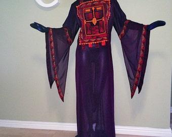 Vintage 70s Caftan Kaftan Sheer maxi dress & lining Hippie Boho Festival Split Bell Sleeves Embroidered Mexico Mexican Oaxaca or India sz XL
