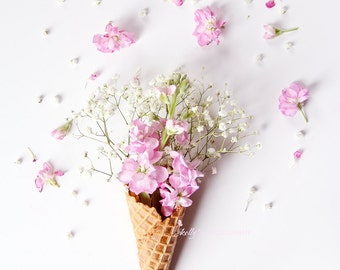 Flower Still Life Photo- Floral Ice Cream Cone Print, Pink Stock Flowers in Cone, Nursery Decor, Pink White Floral Art, Floral Wall Art